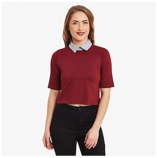 Miss Chase Women's Maroon & Grey Collar Neck Half Sleeves Solid Boxy Crop Top