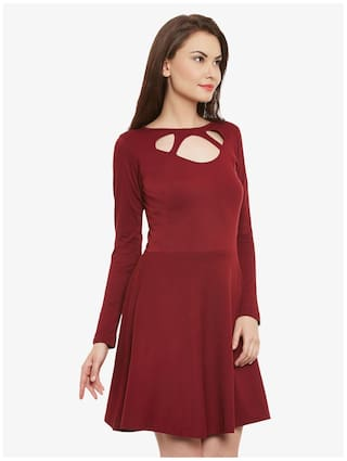 Dresses Neck Solid Mini Sleeve Full Women's Miss Skater Maroon Chase Round xqv4w0A6Z