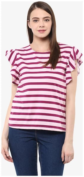 Miss Chase Women's Maroon & Pink Sleeveless Round Neck Striped Ruffled Top