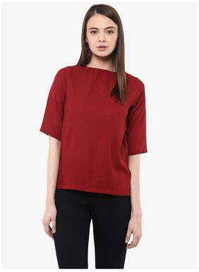 Miss Chase Women's Maroon Half- Sleeve Round Neck Solid Top