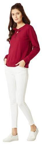 Miss Chase Women Solid Sweatshirt - Maroon