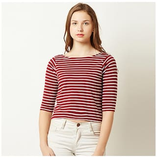Women's Maroon and White Cotton Boat Neck Half Sleeve Striped Crop Top