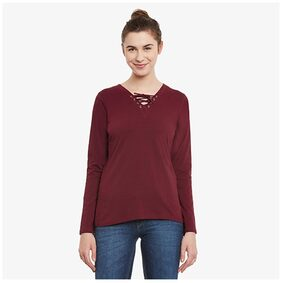 Miss Chase Women's Maroon Solid V-Neck 3/4 Sleeve Top