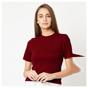 Women's Maroon Round Neck Short Sleeves Solid Ribbed Top