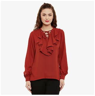 Miss Chase Women Crepe Solid - Regular Top Maroon