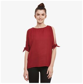 Miss Chase Women's Maroon Solid Boat Neck Half sleeves Top