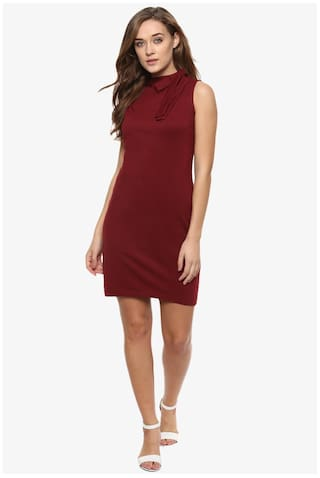Solid Women's Dresses Chase Round Maroon Mini Bodycon Sleeveless Neck Miss qOtw56xw