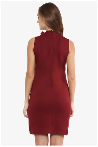 Dresses Mini Neck Chase Miss Maroon Solid Women's Round Sleeveless Bodycon TzxwgOqR