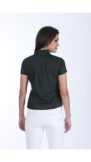 Frills Solid Shirt Women'S Green Millitary gqpfn4Of