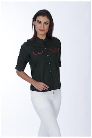Shirt Women's Flap Green Pocket Solid Millitary ZwqXrCxEZn