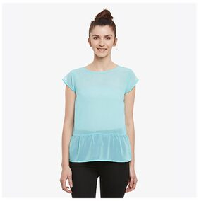 Miss Chase Women Georgette Solid - Regular Top Blue