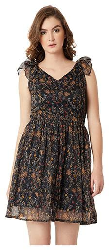 Miss Chase Women's Multicolored V-Neck Sleeveless Bow Detail Floral Mini Skater Dress