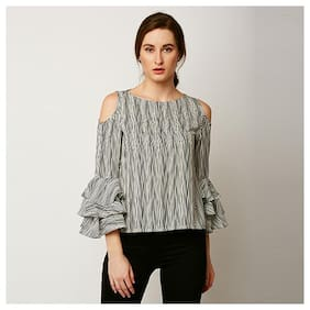 Women's Multicolored Round Neck Full Sleeves Layered Ruffled Striped Cold Shoulder Top