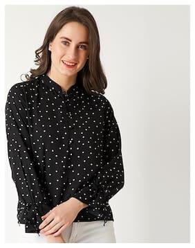Women Polka Dots Round Neck Top
