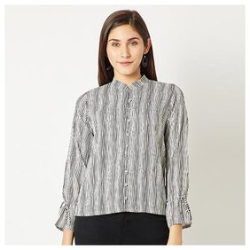 Women's Multicolored Round Neck Full Sleeve Striped Tie-Up Buttoned Chinese Collared Top