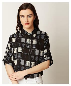Miss Chase Women's Multicolored Round Neck Half Sleeve Printed Boxy Buttoned Collared Crop Shirt