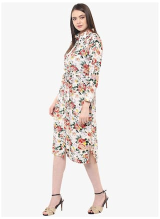 length Neck Dress Women's Miss Floral Knee Round Chase Shift Fullsleeve Multicoloured SOz1q