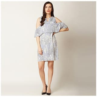 Half Women's Panelled Sleeve Shoulder Ruffled Dress Neck Cold Multicoloured Mini Printed Round 0rqxwBtxI