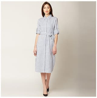 Women's Multicoloured Collared Round Neck Roll-up Full Sleeve Checkered Knee-Long Belted Shirt Dress