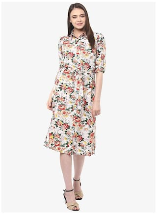 Knee Miss Multicoloured Chase Round Neck Women's Shift Fullsleeve Floral Dress length 8f8xwqEr7