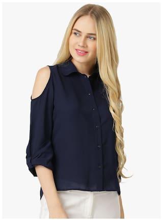 25e87c7cbaafe Buy Women s Navy Blue Summer Polyester Cold Shoulder Shirt Online at ...