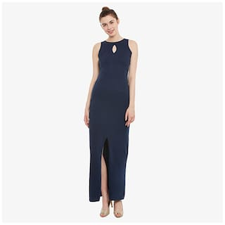 Miss Chase Women's Navy Blue Solid Round Neck Sleeveless Bodycon Maxi Dress