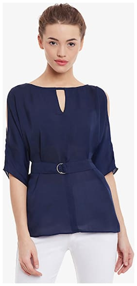Miss Chase Women's Navy-Blue Boat Neck Half-Sleeve Solid Cut-Out Top