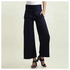 Women's Navy Blue Solid Straight Fit Criss Cross Detailing Waist Tie-Up Pant