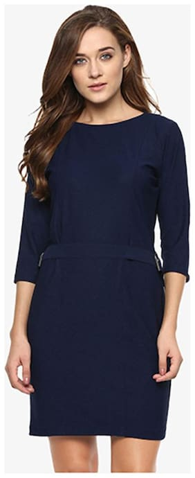 Miss Chase Women's Navy Solid 3/4 Sleeves Round Neck Mini Bodycon Dresses
