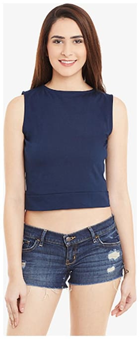 Miss Chase Women's Navy Solid Sleeveless Round Neck Crop Tops