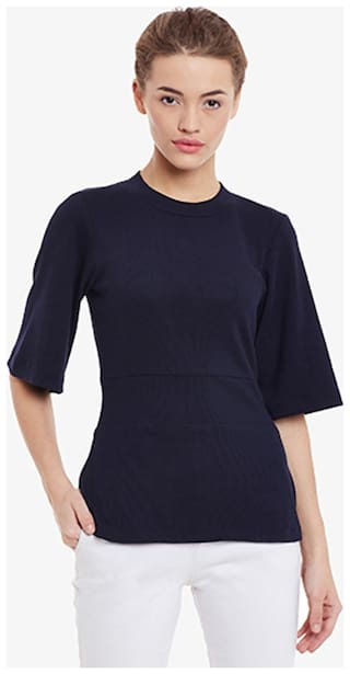 Miss Chase Women's Navy-Blue Round Neck Half-Sleeve Solid Top