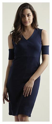 Women's Navy Blue V-Neck Half Sleeve Solid Knee-Long Panelled Cold Shoulder Dress