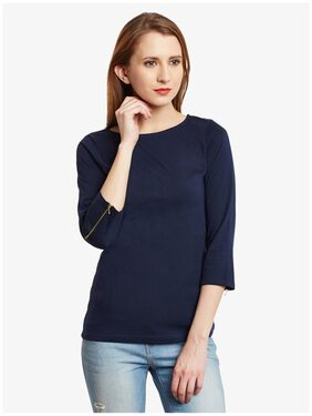 Miss Chase Women's Navy Blue 3/4 Sleeves Round Neck Solid Top