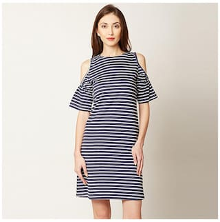 Women's Navy Blue and White Round Neck Half Sleeve Striped Mini Cold Shoulder Dress