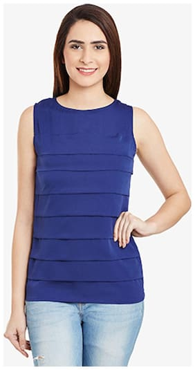 Miss Chase Women's Navy Solid Sleeveless Pleated Round Neck Tops