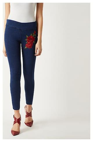 Women's Navy Blue Super Skinny Fit High Rise Clean Look Embroidered Patch Work Regular Length Stretchable Denim Jeggings