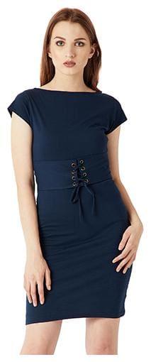 Women's Navy Blue Boat Neck Cap Sleeve Plain Solid Deep Back Corset Belt Tie-Up Mini Shift Dress