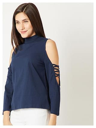 Women's Navy Blue High Round Neck Criss Cross Full Sleeve Cotton Solid Cold Shoulder Top