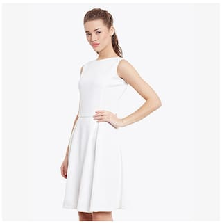 Round Women's Sleeveless White Miss Mini Neck Dress Chase Solid Off Skater wISCfq