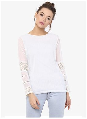 Miss Chase Women's Off White Full Sleeve Round Neck Panelled Top