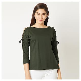 efca2491782aca Buy Women's Olive Green Boat Neck Cut-out 3/4 Sleeve Cotton Solid ...