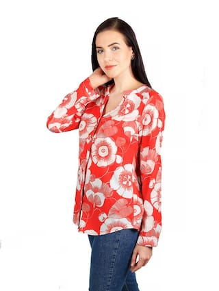 Floral Women's Fit Shirt Printed Regular Orange 7p6wpq5gxn