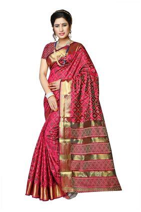 Maroosh Silk Ikat Zari Work Saree - Pink