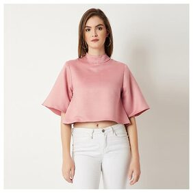 Women's Pink Round Neck Flared Half Sleeve Solid Suede Buttoned Boxy High Neck Top