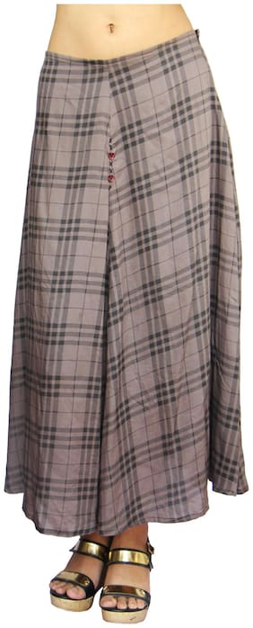 Harbinger Designs Checked A-line skirt Midi Skirt - Grey & Black