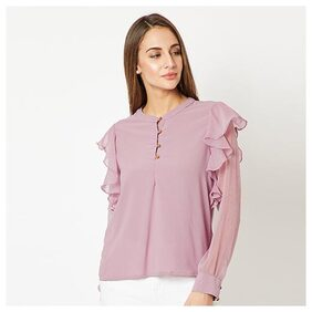 Women's Purple Round Neck Frilled Full sleeve Solid Ruffled Cuffed Top