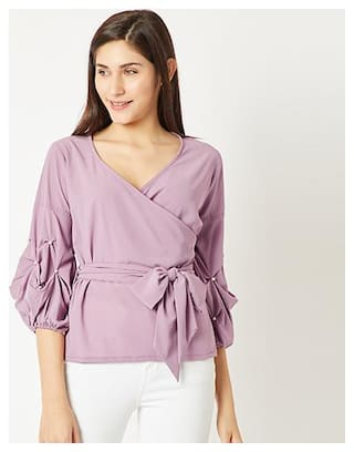 Miss Chase Women Solid Regular top - Purple