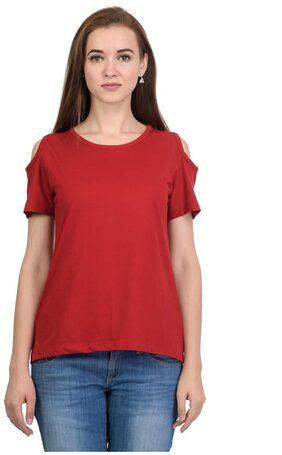 Kalt Women Modal Solid - A-line Top Red