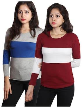 HIMGIRI INTERNATIONAL Women Multi Regular fit Round neck Cotton T shirt