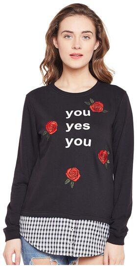 Club York Women Printed Sweatshirt - Black